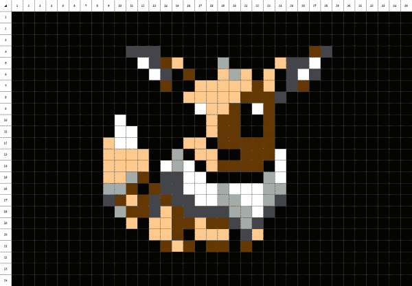 pixel art du pokémon évoli sur fond noir