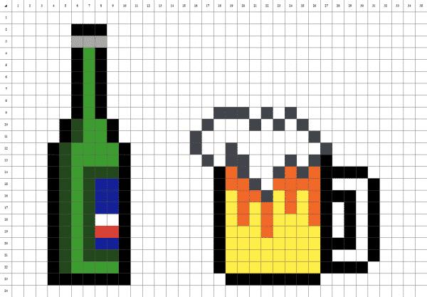 Pixelart de bière sur fond blanc