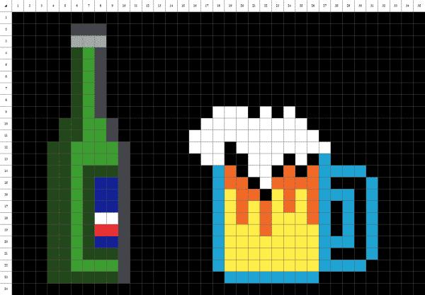 Pixelart de bière sur fond noir