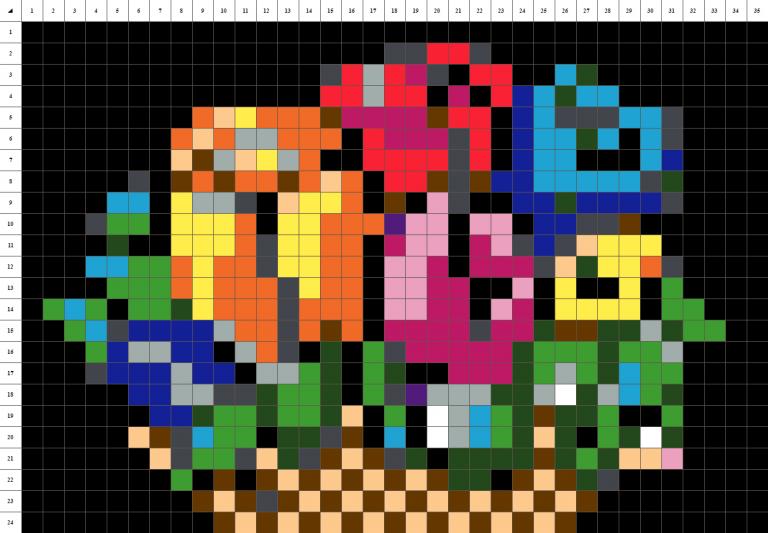 Bouquets de fleurs pour la fête des mères en pixel art sur fond noir
