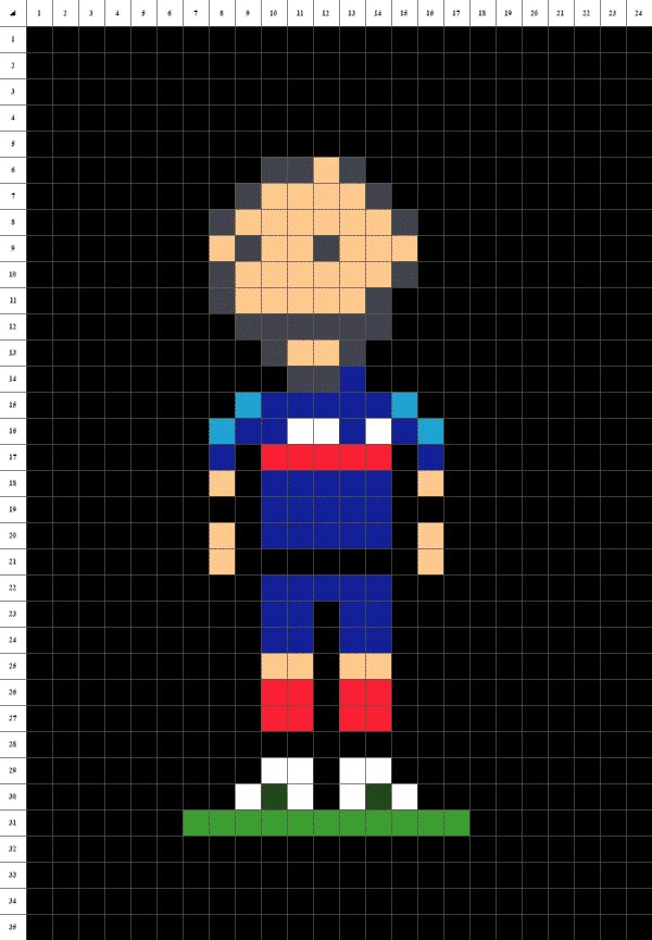 pixel art de karim benzema le footballeur de l'équipe de France sur fond noir