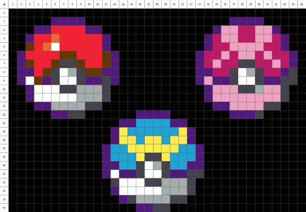des poké ball de pokémon en pixel art sur fond noir