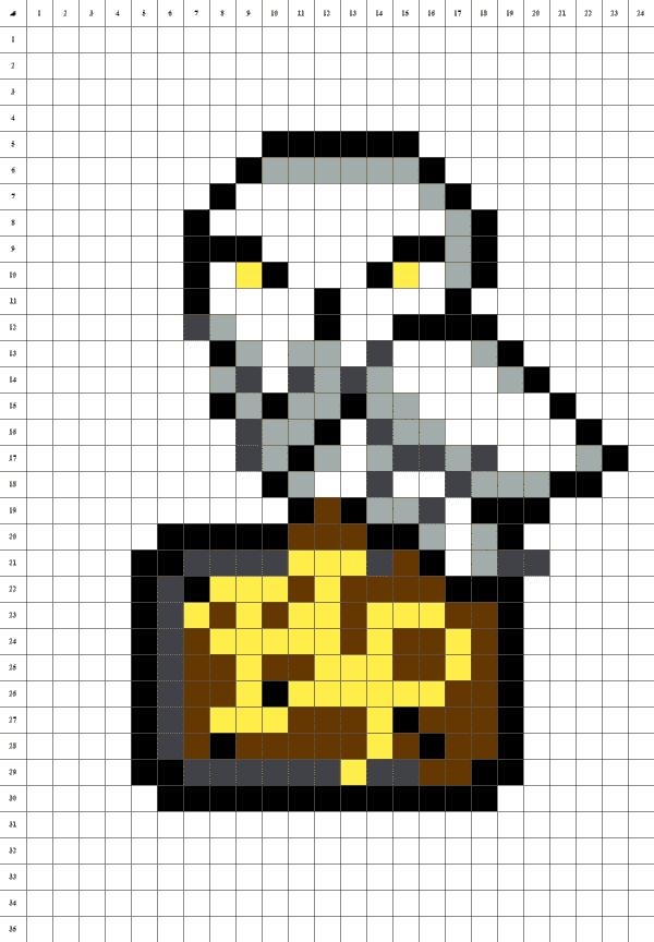 hedwige pixel art blanc