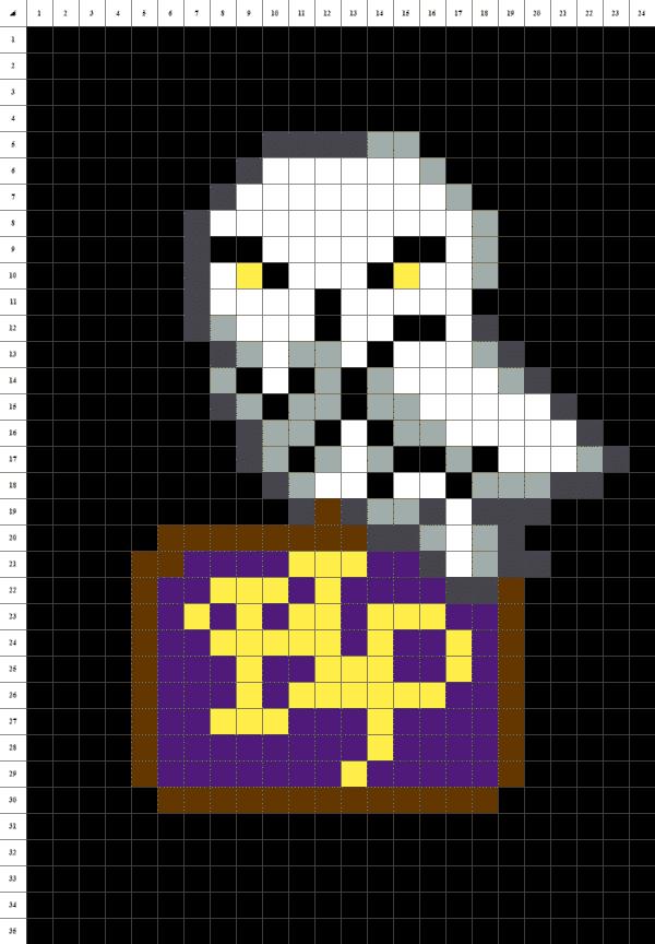hedwige pixel art noir