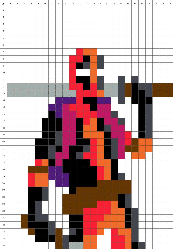 Deadpool pixel art fond blanc