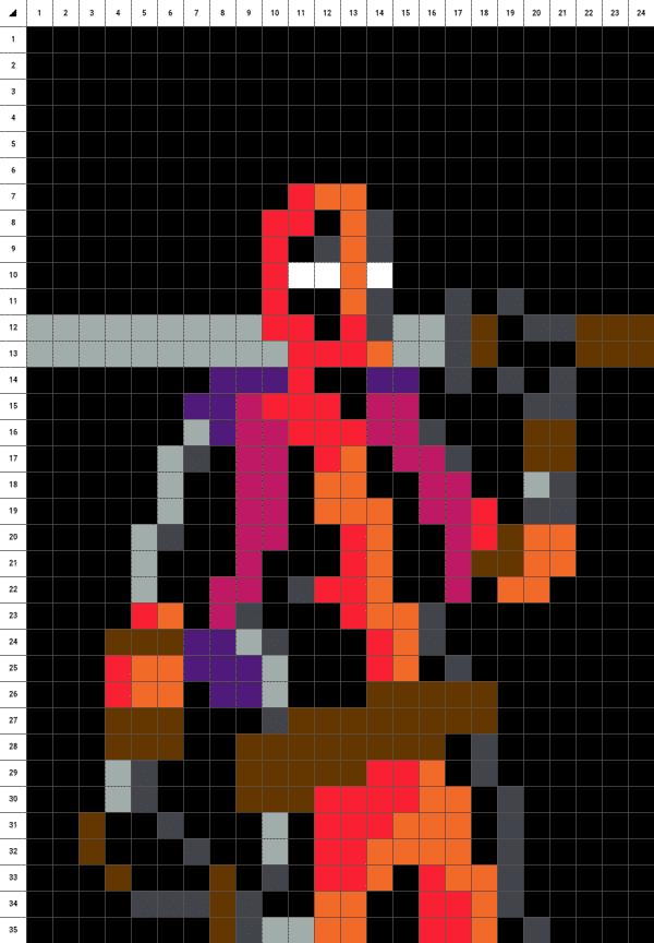Deadpool pixel art fond noir