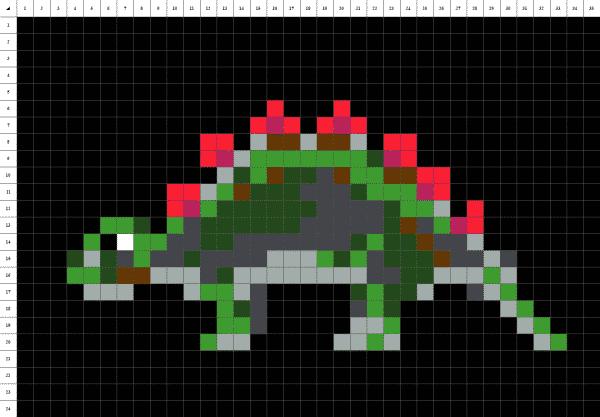 Stegosaure dinosaure pixel art fond noir