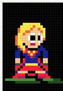 Supergirl pixel art fond noir