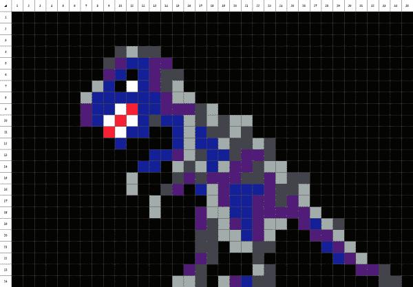 Tyrannosaure pixel art noir