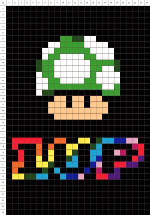 1up champignon Mario pixel art grille fond noir